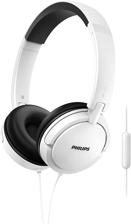 Philips SHL5005WT - Auriculares con micrófono, cómodo, plegables, aislamiento del ruido, cable de 1,2 m, blanco