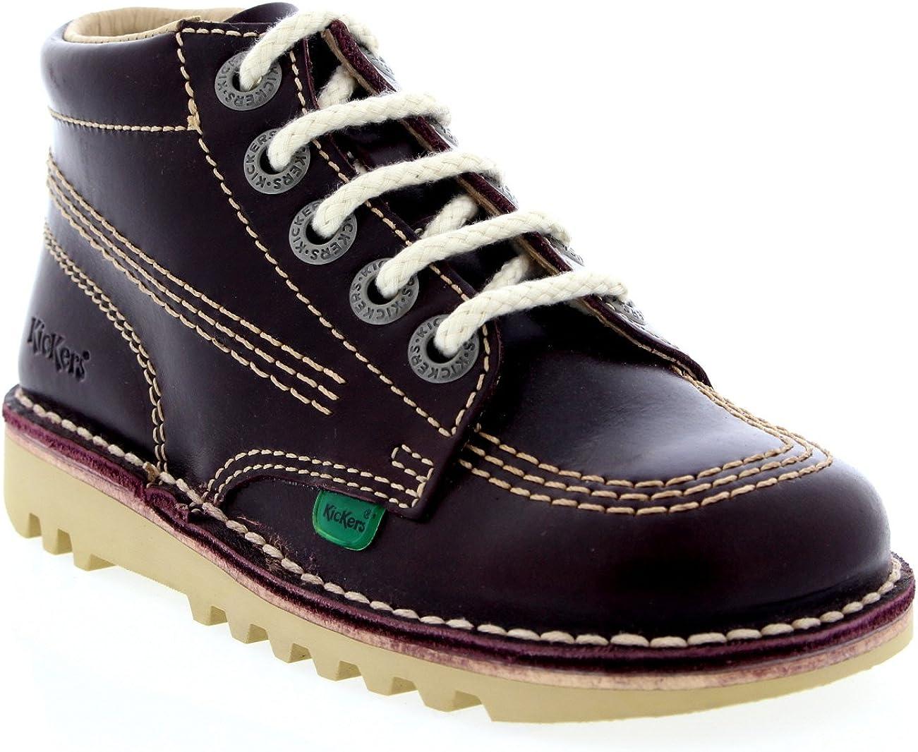 Womens Kickers Kick Work Leather Platform Hi Patent Boot Laced Shoes 71atBWDzNdL