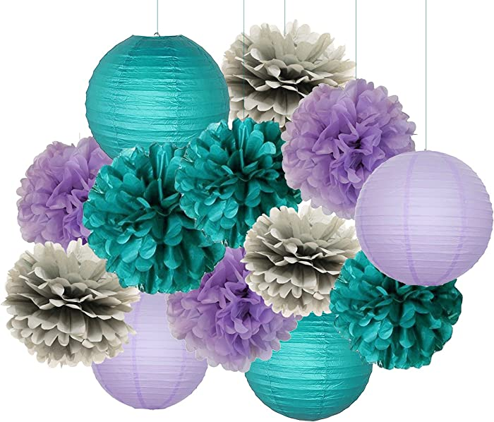 Mermaid Party Decorations Teal Purple Grey Baby Shower Decorations 16 pcs Teal Purple Grey Tissue Paper Pom Pom Paper Lanterns for Teal Purple Bridal Shower Decor Birthday Decorations