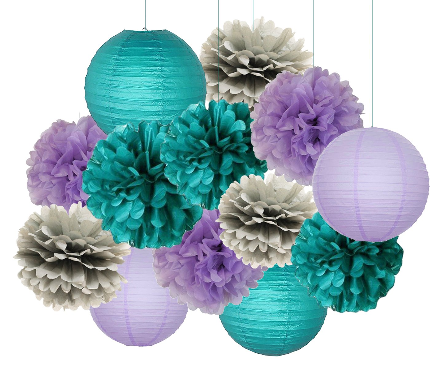Mermaid Party Decorations Teal Purple Grey Baby Shower Decorations 16 pcs Teal Purple Grey Tissue Paper Pom Pom Paper Lanterns for Teal Purple Bridal Shower Decor Birthday Decorations Furuix