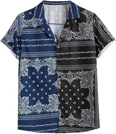 XNBZW Camisa Hawaiana para Hombre, Playera de Manga Corta con Estampado Floral, clásica, Informal, Corte Regular, Casual, con Solapa, Blusa: Amazon.es: Ropa y accesorios