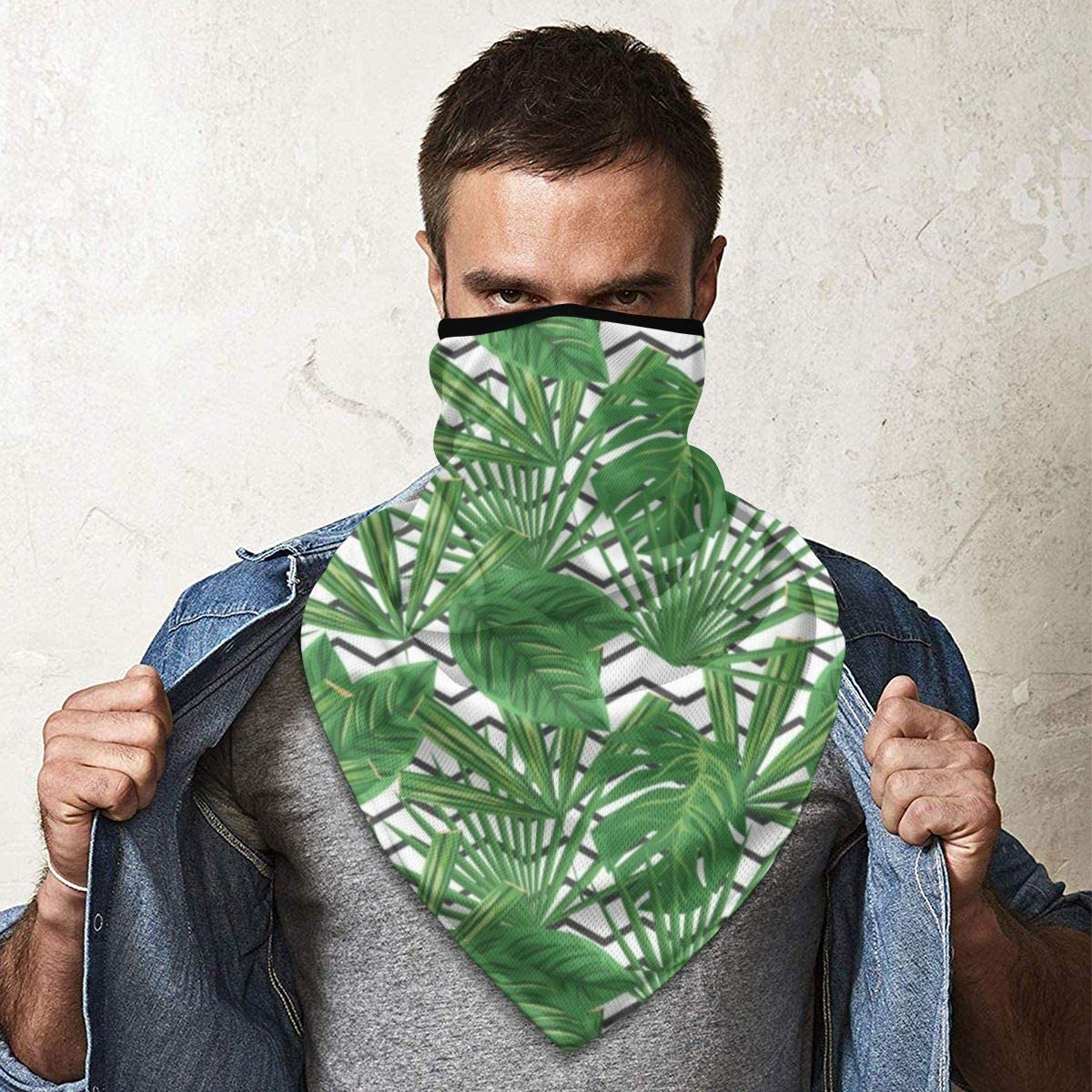 Wind-Resistant Face Mask/& Neck Gaiter,Balaclava Ski Masks,Breathable Tactical Hood,Windproof Face Warmer for Running,Motorcycling,Hiking-Tropical Leaf Zig Zag