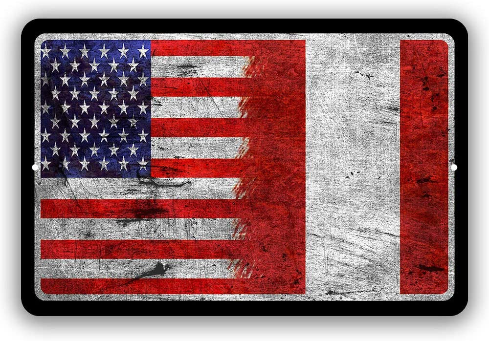 Peru Country Flag vs USA Man Cave Metal Decor Tin Sign Indoor and Outdoor use 8