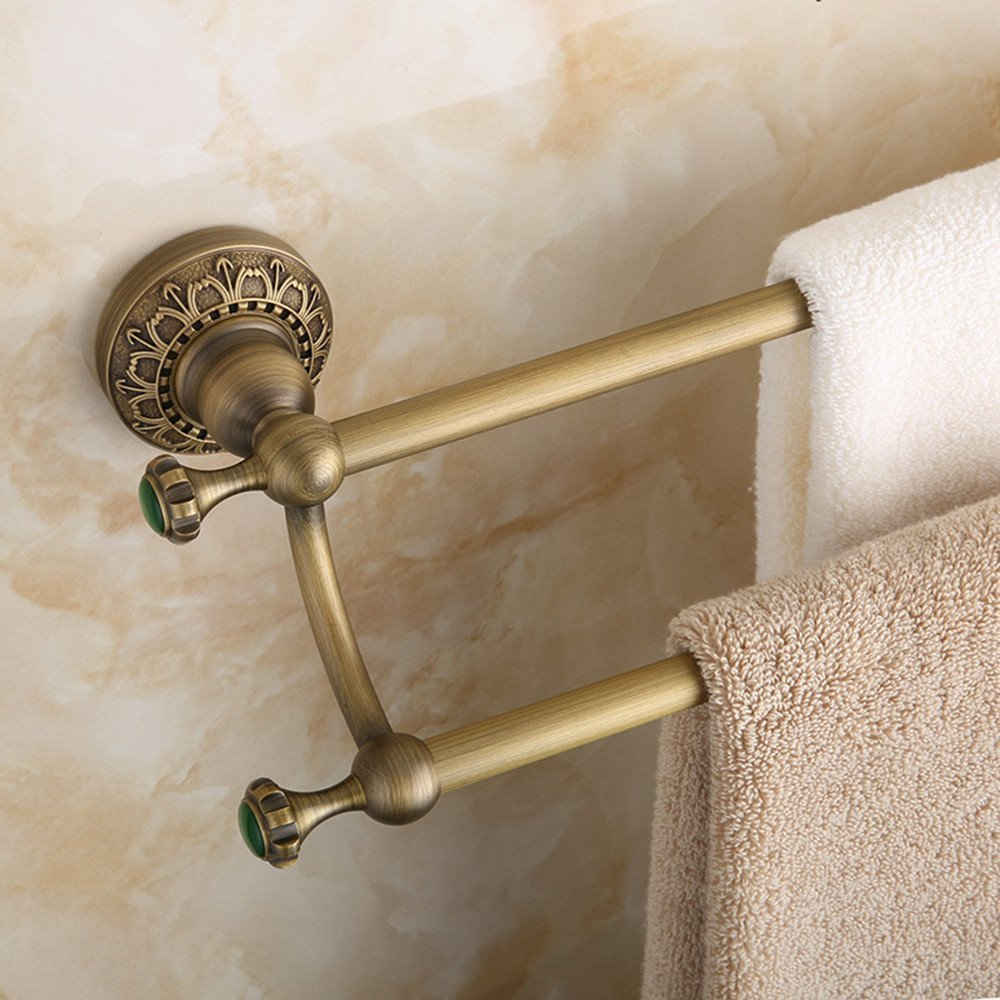 HOMEE European Style All Copper Antique Double Pole Towel Rod Vintage Carved Bath Towel Rack