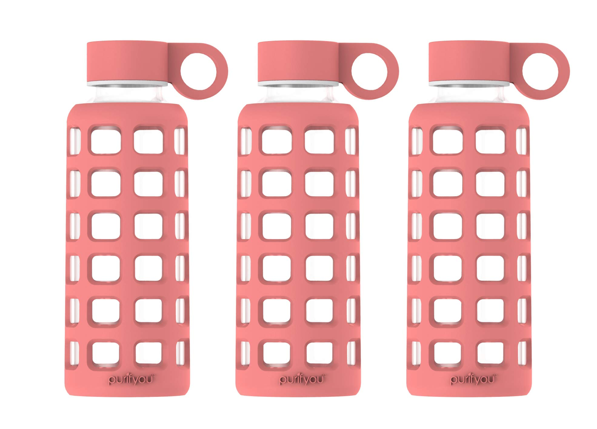 purifyou Premium Glass Water Bottle with Non-Slip Silicone Sleeve & Stainless Steel Lid Insert, 12/22 / 32 oz (3 Pack Terra Cotta, 22 oz) by purifyou