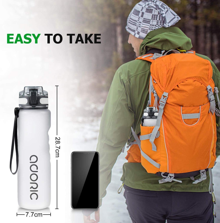 No T/óxico sin BPA con Tapa Abatible ADORIC Botella Agua Deporte Botella Agua Gimnasio Plastico con Filtro 500ml a 1000ml