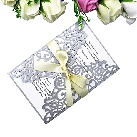 amazon com ponatia 25 pcslaser cut invitations card with ribbon