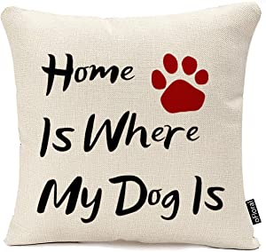 oFloral Best Gifts for Dog Lover Nordic Funny Sweet Warm Sayings Home is Where My Dog is Cotton Linen Decorative Home Office Throw Pillow Case Cushion Cover Square 18X18 Inches