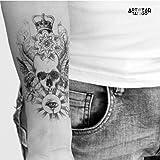 "Tatouage Temporaire ""Skull Eye Crown"" - ArtWear Tattoo - B0039 M"