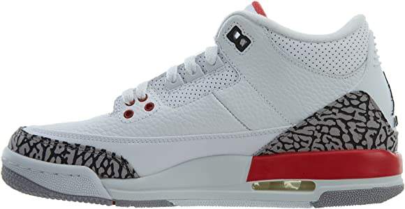 7ec417be4329a6 Air Jordan 3 Retro Big Boy s Shoes White Fire Red Cement Grey 398614-116  (3.5 D(M) US). NIKE Air Jordan 3 Retro Big Boy s Shoes White Fire Red Cement  Grey ...