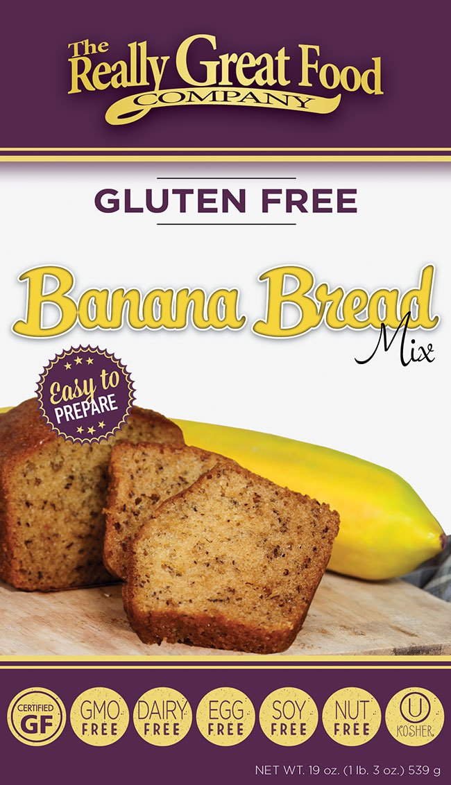 Really Great Food Company – Gluten Free Banana Bread Mix – Large 19 ounce box - No Nuts, Soy, Dairy, Eggs - Vegan, Kosher and Non-GMO