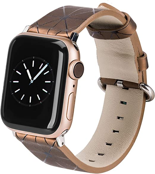 Amazon Com Toyouths Compatible With Apple Watch Band 38mm Rose Gold Iwatch Womens Mens 40mm Watchband Leisure Replacement Wristband Soft Leather Strap Bracelet Series 5 4 3 2 1