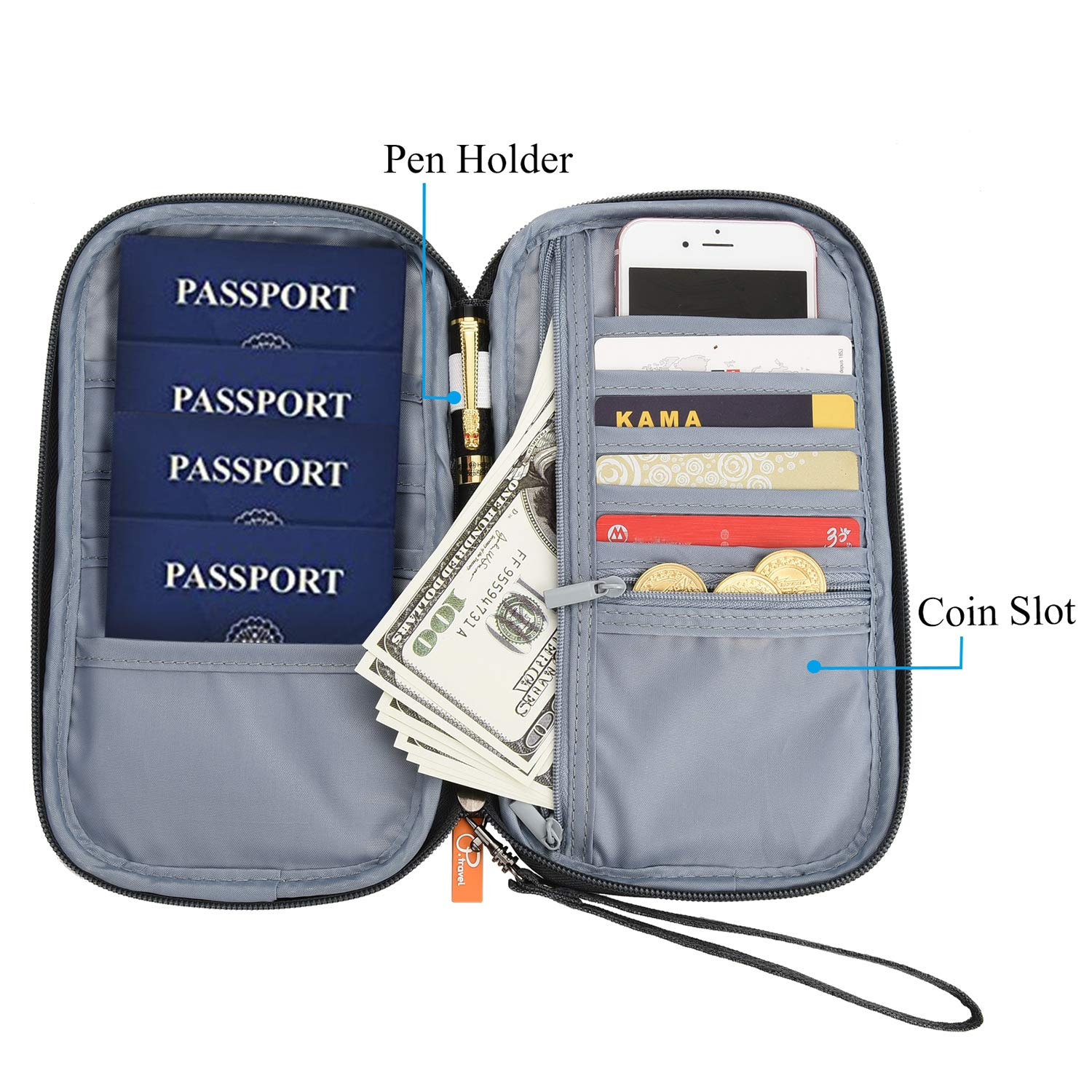 RFID Blocking Travel Passport Wallet Family Passport Holder Credit Card Ticket Document Organizer Bag with 3pcs luggage Tags (Grey) by Marcoon (Image #3)