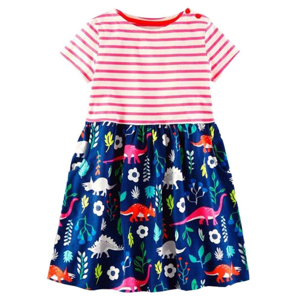 HOMAGIC2WE Girls Cotton Short Sleeve Dress Cute Striped Dinosaur Printed Summer Shirt for Toddler,2blackdinosaur,3T/(3-4T)100cm