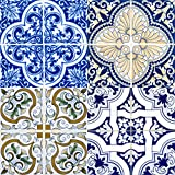 Backsplash Peel and Stick Tile Stickers 24 PC Set (6 x 4PC) Authentic Traditional Talavera Tiles Stickers Bathroom & Kitchen Vinyl Tile Decals Easy to Apply Just Peel & Stick (Vivid Blue, 6x6 Inch)