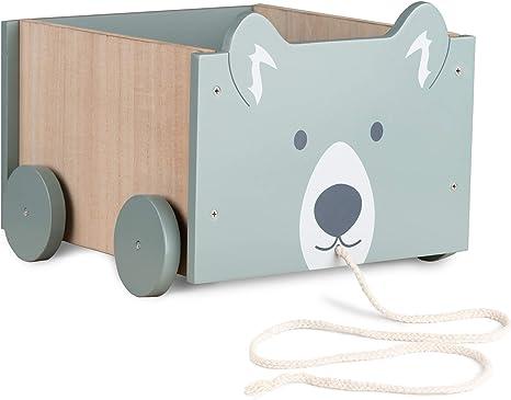 Navaris Caja de almacenamiento de juguetes - Baúl de madera para almacenaje en habitación de los niños - Cubo con ruedas y diseño de oso - Unisex: Amazon.es: Bebé