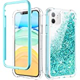 Caka iPhone 11 Case, iPhone 11 Glitter Clear Full Body Protection Case with Screen Protector Moving Shining Sparkly Liquid Quicksand Girls Girly Women Shockproof Rugged Case for iPhone 11 6.1 (Teal)