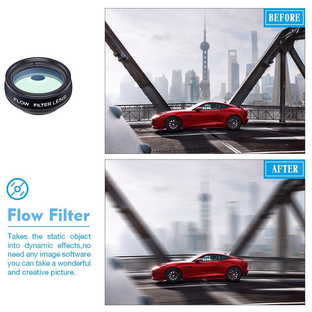 APEXEL 11in1 Kit obiettivo Obiettivo grandangolare e macro+obiettivo fisheye teleobiettivo+caleidoscopio//CPL//flusso//radiale//filtro a stella+otturatore per iPhone e la maggior parte degli smartphone