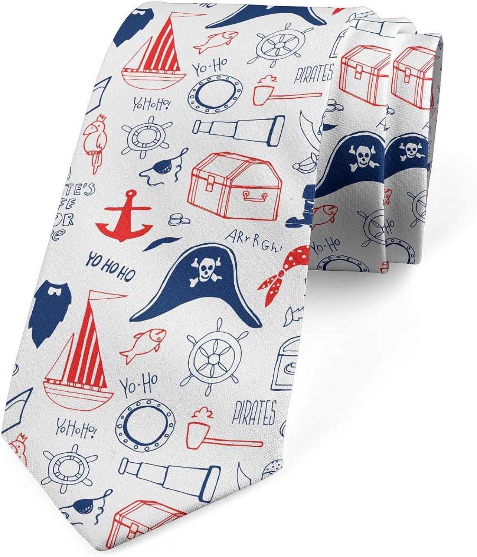 Hand Drawn Sailor Theme Ambesonne Mens Tie 3.7 Scarlet Navy Blue White