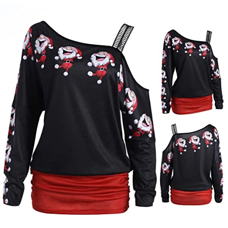 Christmas Tops For Women.Amazon Com Christmas Tops Women Sexy Sexy Skew Collar T