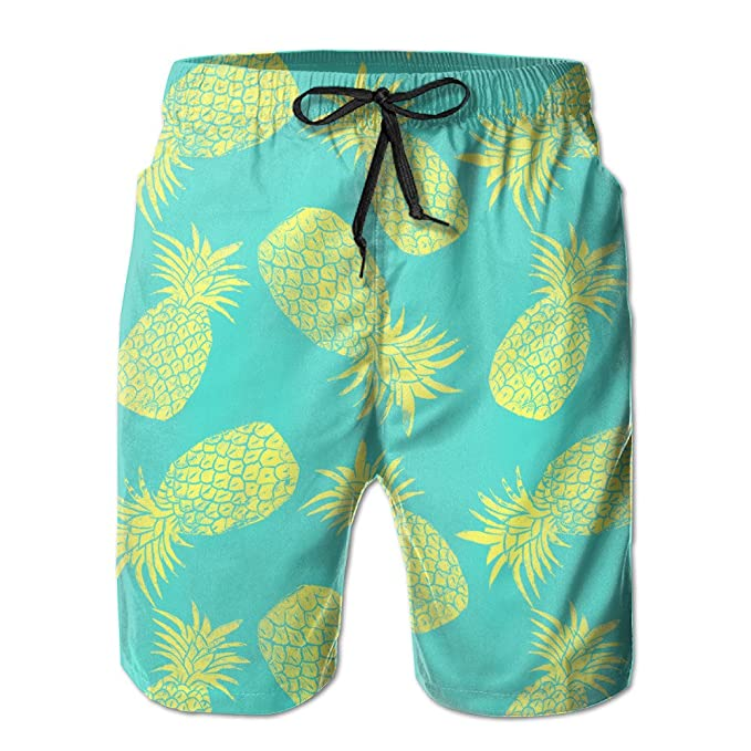 66c00f7e09 Image Unavailable. Image not available for. Color: Adsads Pineapple Pattern  Mens Short Swimwear Print Swim Trunks Beach Pants