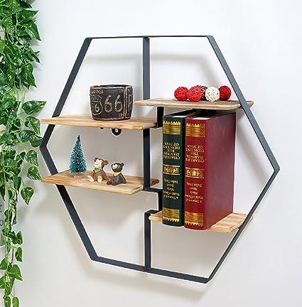 Retro 4-storey wall shelf floating partition storage shelf