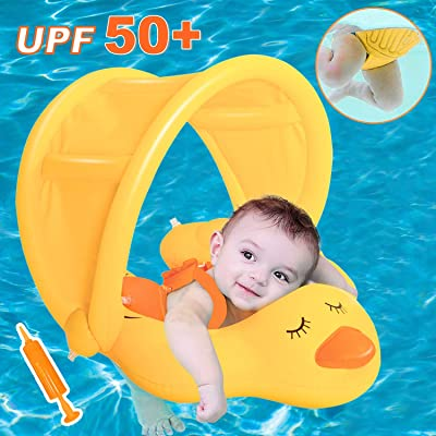Baby Swimming Pool Floats with Removable Canopy and Safety Crotch Strap Support, Funny Duck Infant Swim Pool Float for Toddlers Trainer Kids Swimming Pool Rings Sunshade Toy for Children of 3-10 Month: Toys & Games