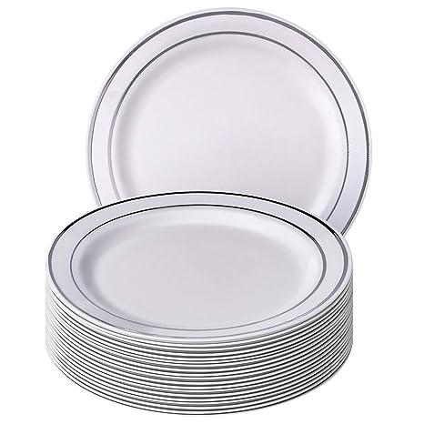 Plata brillo colección elegante China vajilla desechables plato redondo blanco con borde de plata (para