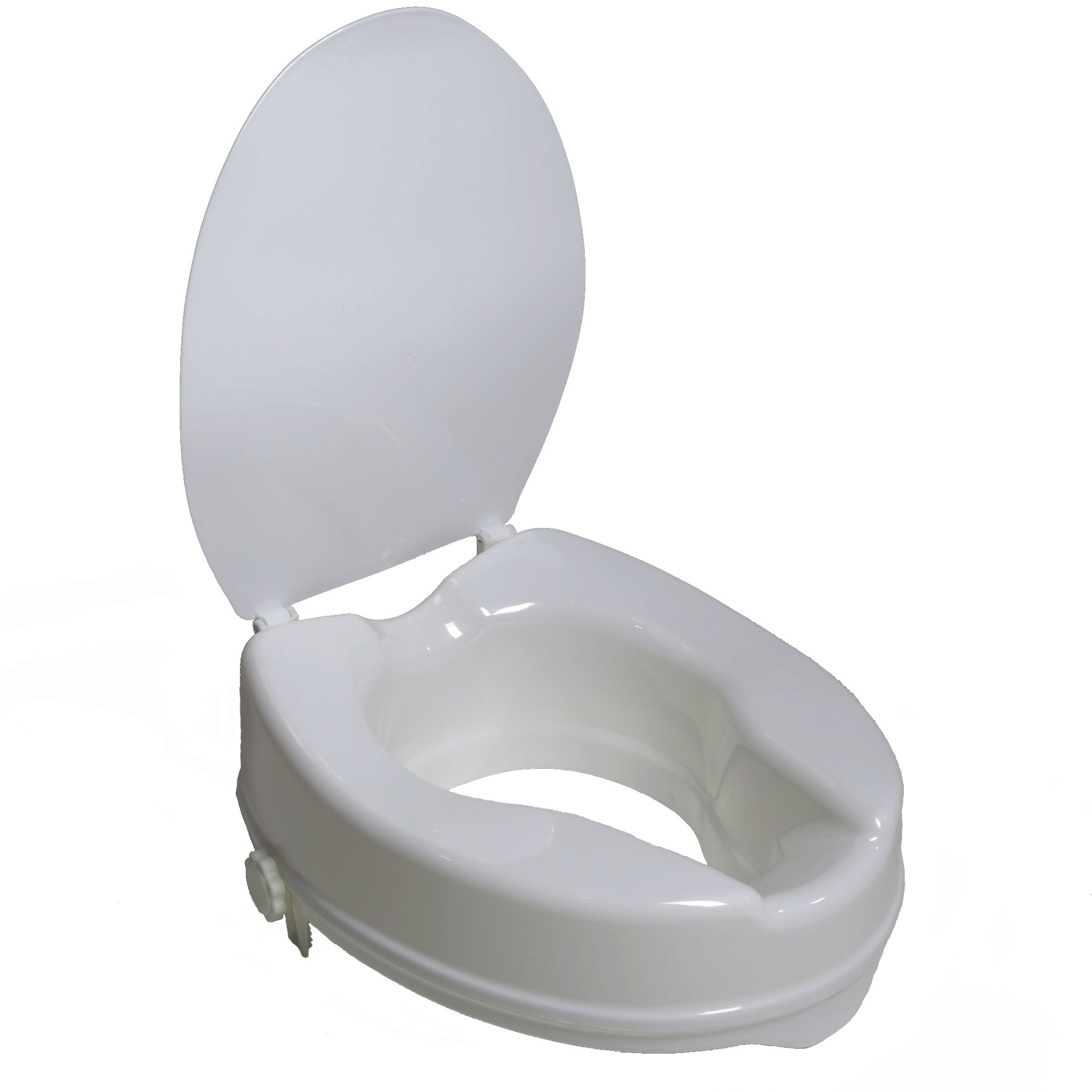 PCP 4'' Raised Standard Toilet Seat, Increase Height Over Commode, Includes Lid, Tightening Stability Safety Clamps