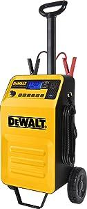 DEWALT DXAEC210 70 Amp Rolling Battery Charger: 210 Amp Engine Start, 2 Amp Maintainer, 120V AC Outlet, 3.1A USB Port, Battery Clamps