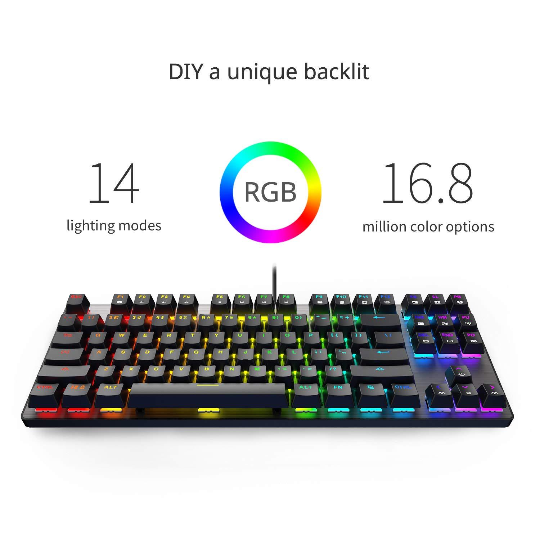 DREVO Tyrfing V2 87Key RGB Backlit Mechanical Gaming Keyboard Tenkeyless Programming Macro Media Control Software Support Outemu Linear Red Switch Black by DREVO (Image #3)