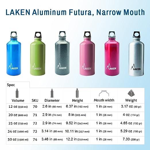 LAKEN 70-G Botella de Aluminio, Unisex Adulto, Gris, 350ml: Amazon.es: Deportes y aire libre
