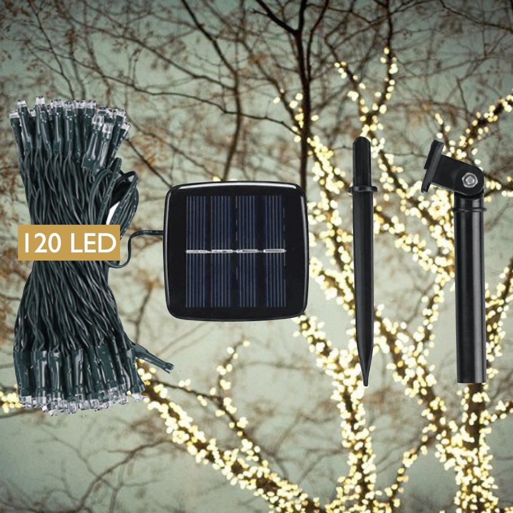 DeVida Solar String Lights 120 Warm White LED Easy to Install