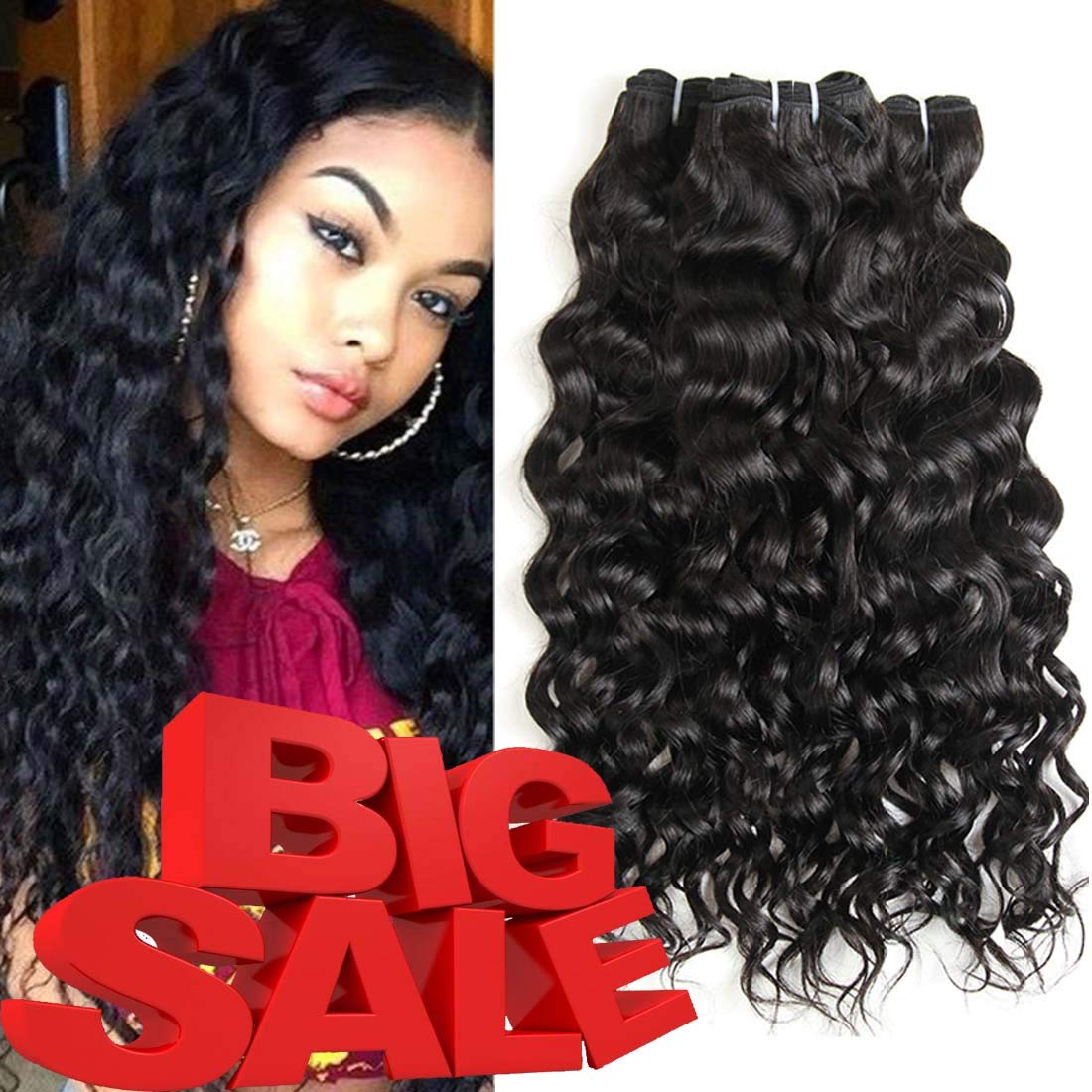 9ac4326dda Amazon.com  XYHair Factory Wholesale Brazilian Virgin Water Wave 3 Bundles  Human Remy Hair Weave Extensions Wet And Wavy Top Quality 100% Unprocessed  Virgin ...
