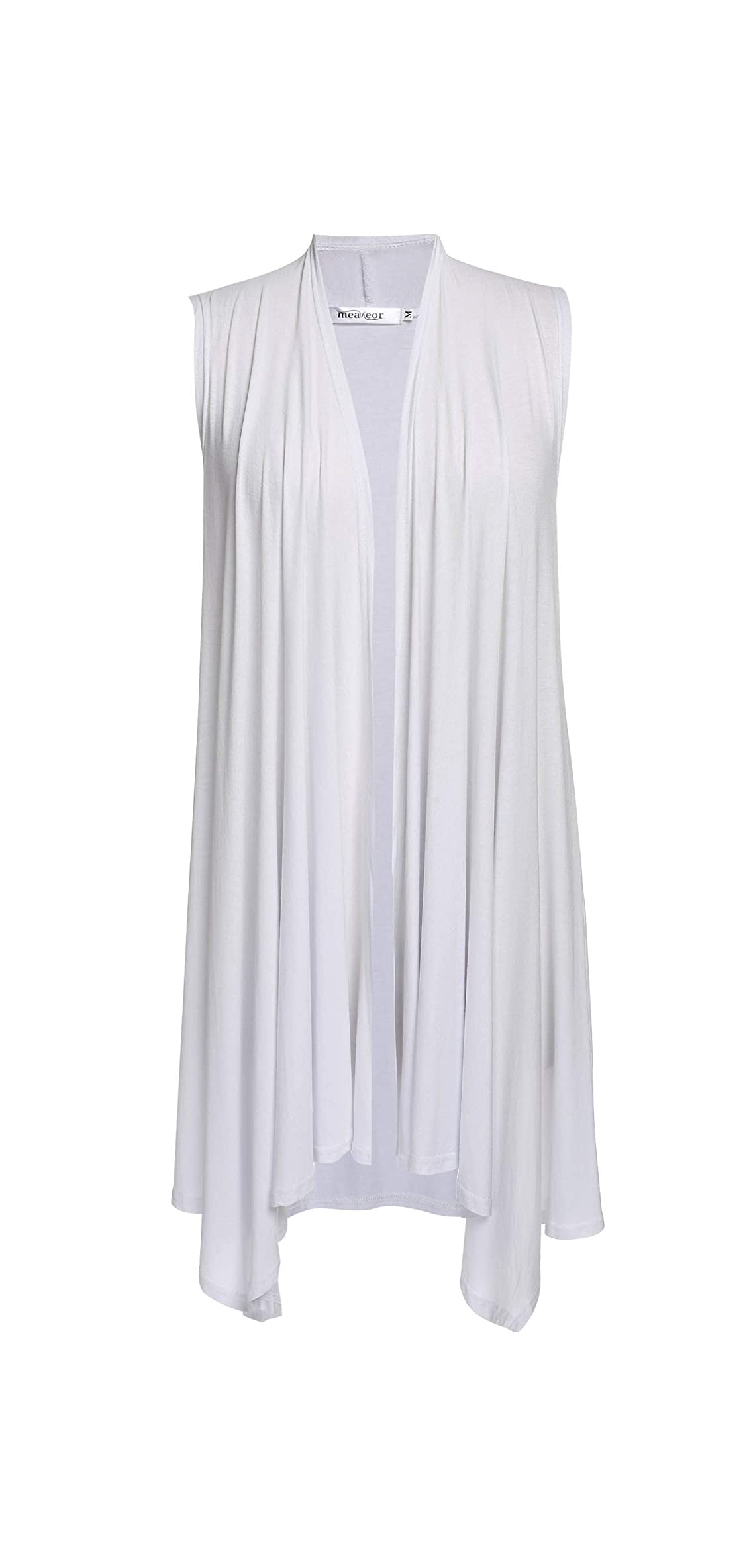 Women's Sleeveless Solid Color Asymetric Hem Open Front