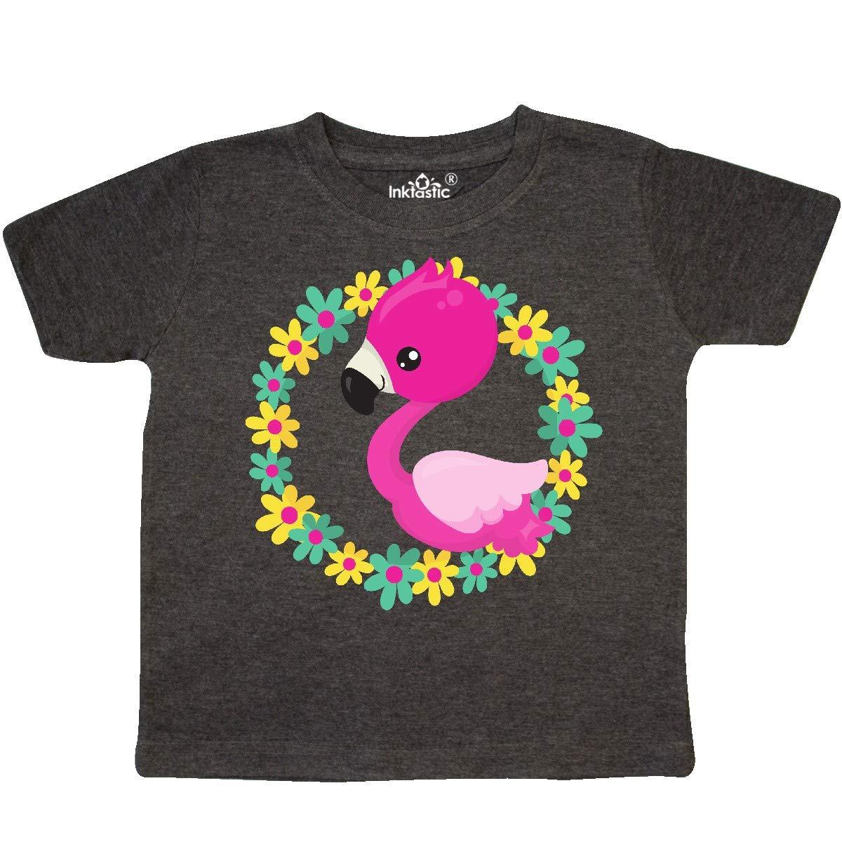 inktastic Cute Flamingo Pink Flamingo Floral Wreath Toddler T-Shirt