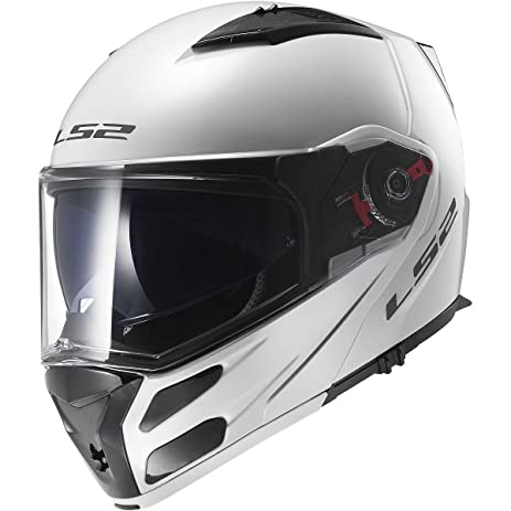 LS2 Helmets Metro Solid Modular Motorcycle Helmet with Sunshield (White, X-Small)