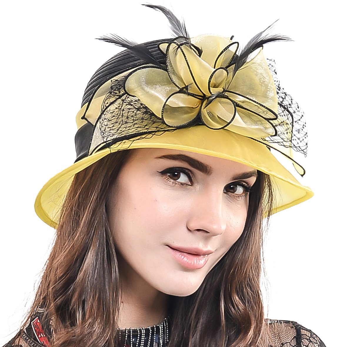 HISSHE Sweet Cute Cloche Oaks Church Dress Bowler Derby Wedding Hat Party S606-A, Yellow, Medium by HISSHE (Image #3)