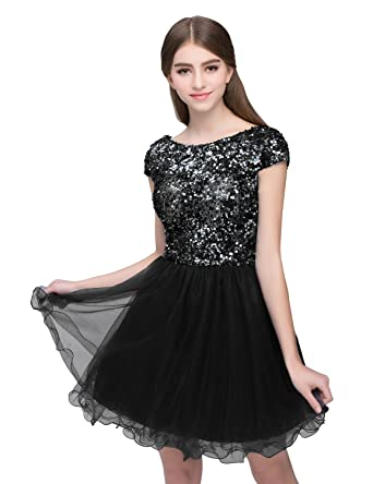 7e7cd3e72 anmor Juniors Sequin Homecoming Dresses Tulle Mine Cocktail Party Gowns  with Short SleeveBlack US2