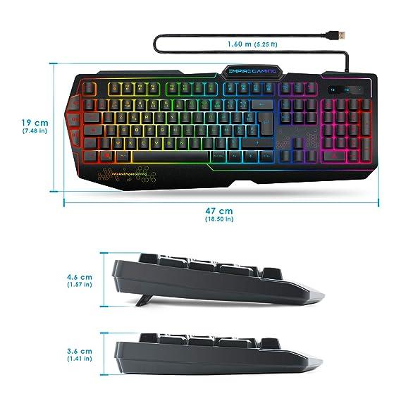 EMPIRE GAMING - K900 Gaming Keyboard QWERTY- 105 Semi-mechanical keys -9-mode LED RGB backlighting, including 1 customisable mode - 19 anti-ghosting keys ...