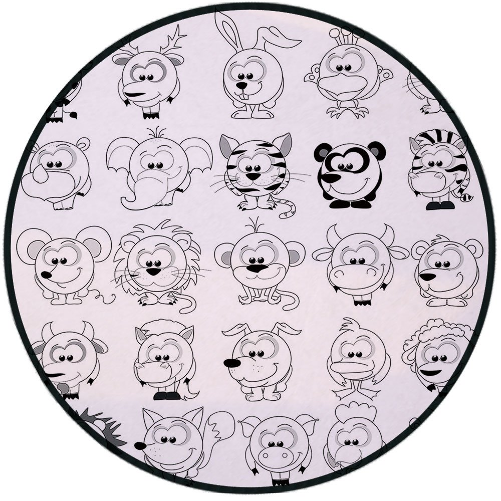 Printing Round Rug,Doodle,Assortment of Cartoon Style Animals Cat Zebra Girraffe Pig Panda Monkey Animal Fun Mat Non-Slip Soft Entrance Mat Door Floor Rug Area Rug For Chair Living Room,Black White