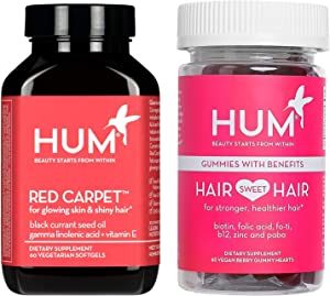 HUM Hair Growth & Healthy Skin Vegan Supplement Set with Hair Sweet Hair Gummies and Red Carpet Softgels with Black Currant Seed Oil - Gluten-Free & Non-GMO (2 Products, 60 Count Each)