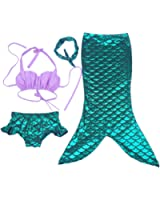 Moomintroll 4pcs Kids Girl's Fancy Cut Mermaid Tail Swimsuit Bikini Set for Swimming without Monofin
