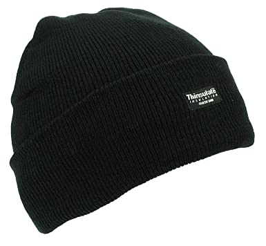 Mens Adult Winter Thermal Thinsulate Knitted Black Beanie Hat One Size b591bb93b26
