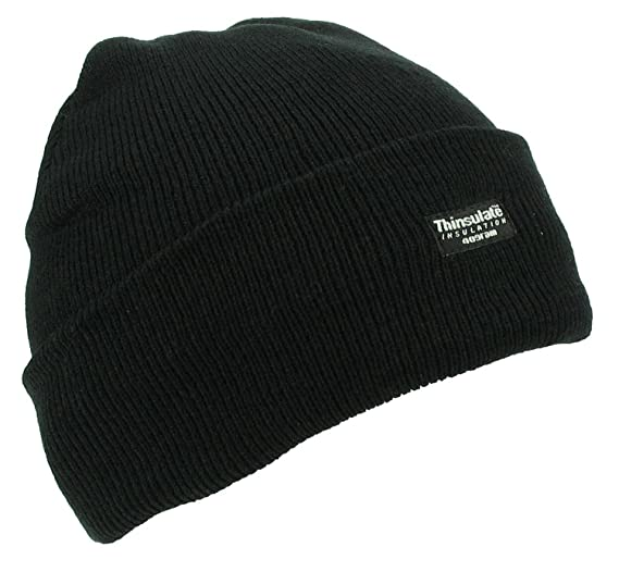 38ce29123bc Mens Adult Winter Thermal Thinsulate Knitted Black Beanie Hat One Size