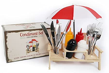 Outdoor Umbrella Picnic Bench Condiment Holder Cutlery Set ~ Salt And Pepper Shakers  sc 1 st  Amazon UK : picnic table condiment set - pezcame.com