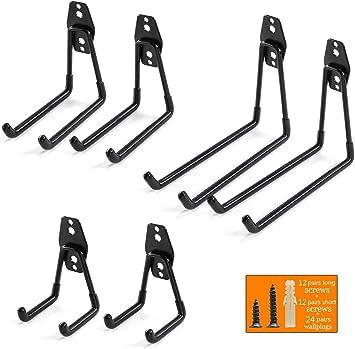 Colgadores de Bicicletas pared Soportes para Colgar Bicicletas Ganchos Escalera Ferretería, Heavy Pesado Colgadores para Garaje con Montaje en Pared Soporte para Escalera Storage (6 Pieze - Negro): Amazon.es: Bricolaje y herramientas