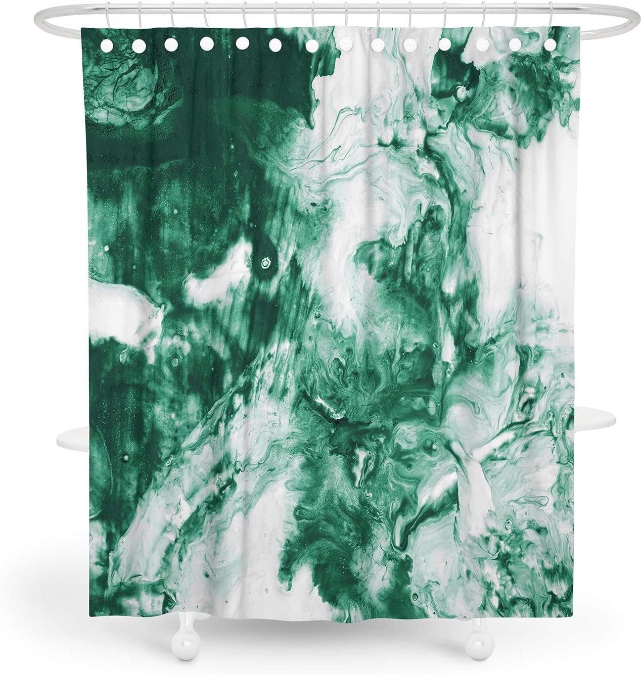 MuaToo Waterproof Fabric Shower Curtain,Bathroom Decor Abstract Theme Series Shower Curtains Green and White, 72 x 72 Inches