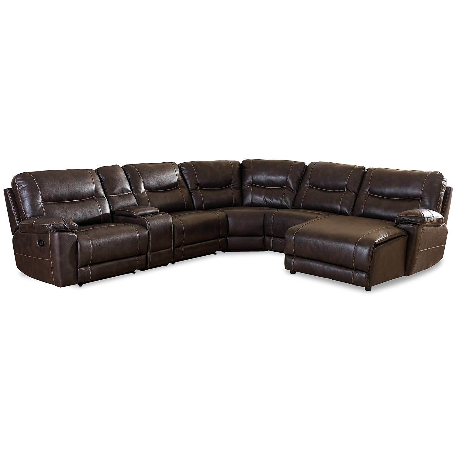 Tremendous Baxton Studio Gilles Modern Contemporary Bonded Leather 6 Piece Sectional With Recliners Corner Lounge Suite Brown Lamtechconsult Wood Chair Design Ideas Lamtechconsultcom