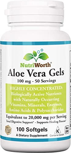 NutriWorth Organic Aloe Vera Supplement Equivalent to 20,000mg- 100 Softgels – Kosher Certified Concentrated Active Digestive Enzymes, Vitamins, Amino Acids, Minerals Acemannan